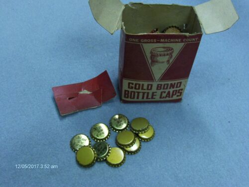 Vintage Gold Bond Bottle Caps With Original Box Unused Caps 2 Styles