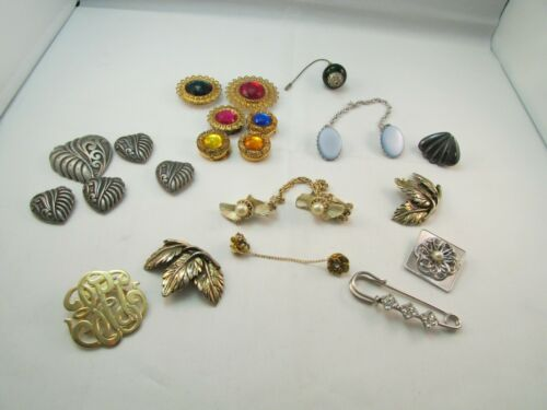 Vintage LOT Button Covers Scarf Sweater Clips Pins Silver Gold Tone