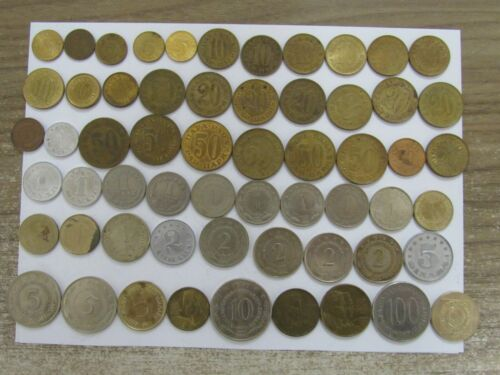 Lot of 59 Different Old Yugoslavia Coins - 1953 to 1991 - Circulated & BU
