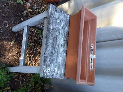 2 X plastic window planting boxes - terracotta coloured