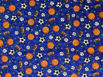 "Soccer Football Baseball Basketball Cotton Quilt MASK Fabric ~ 18"" x 21"" ~ FQ"