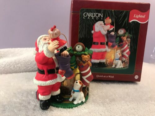 Christmas ornament carlton cards santa fireplace Quick as a Wink EX6814