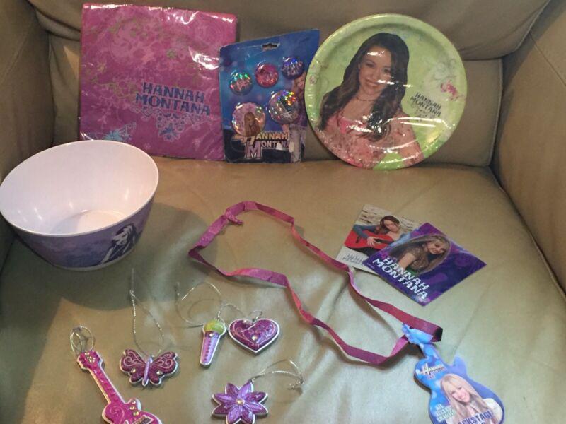 Vintage Hannah Montana Stickers,pins,Party Plates ,Napkins ,Bowl, Xmas Decor