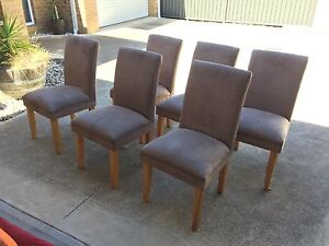 Set of 6 suede dining chairs Hamlyn Heights Geelong City Preview