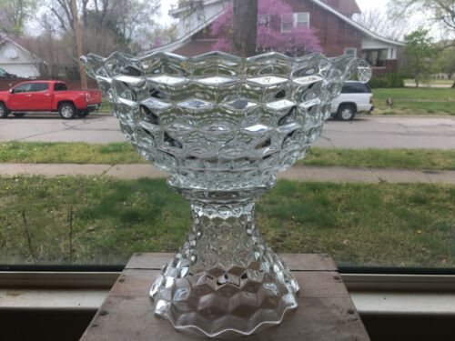 """Fostoria AMERICAN 14"""" punch bowl, stand and ladle"""