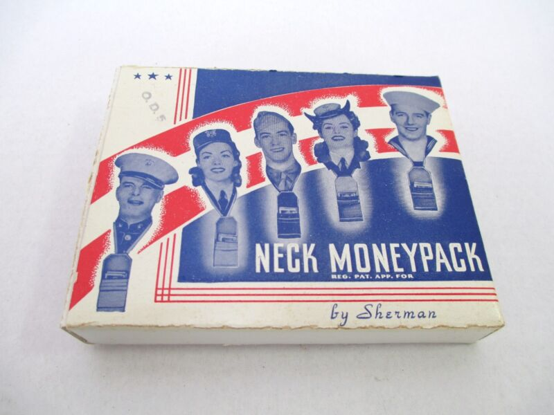 Rare NOS Sherman Neck Money Pack Tie Unisex Khaki Unused in Orig Box!