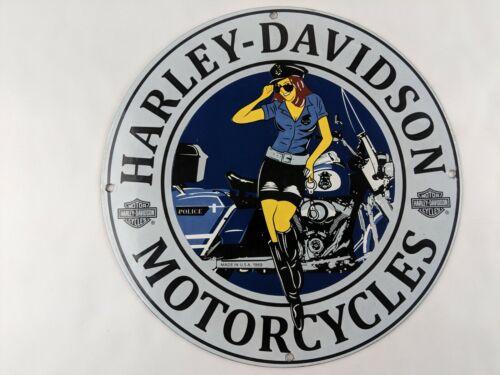 VINTAGE 1969 HARLEY DAVIDSON MOTORCYCLES LADY PORCELAIN METAL SIGN GASOLINE PUMP