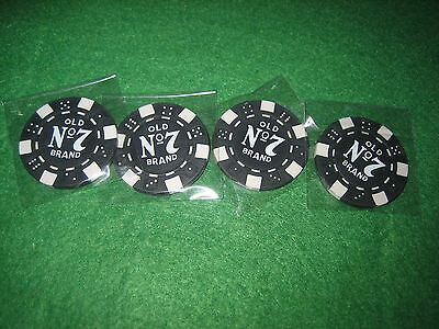 *****FOUR JACK DANIELS OLD No.7 POKER CHIPS  /  BALL MARKERS *****