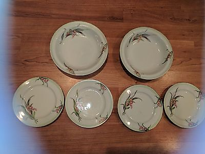 """4 ALADDIN OCCUPIED JAPAN LILY OF VALLEY CHINA AVALON 6 3/8"""" PLATE & TWO 8""""BOWL"""