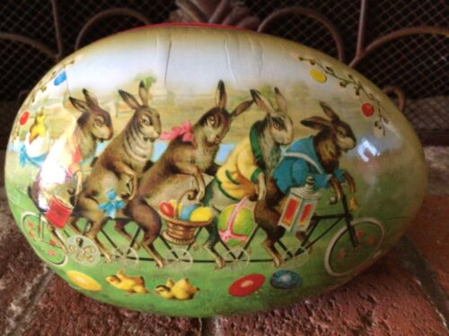 Vintage Large Paper Mache Easter Egg Candy Container By Nester WESTERN GERMANY