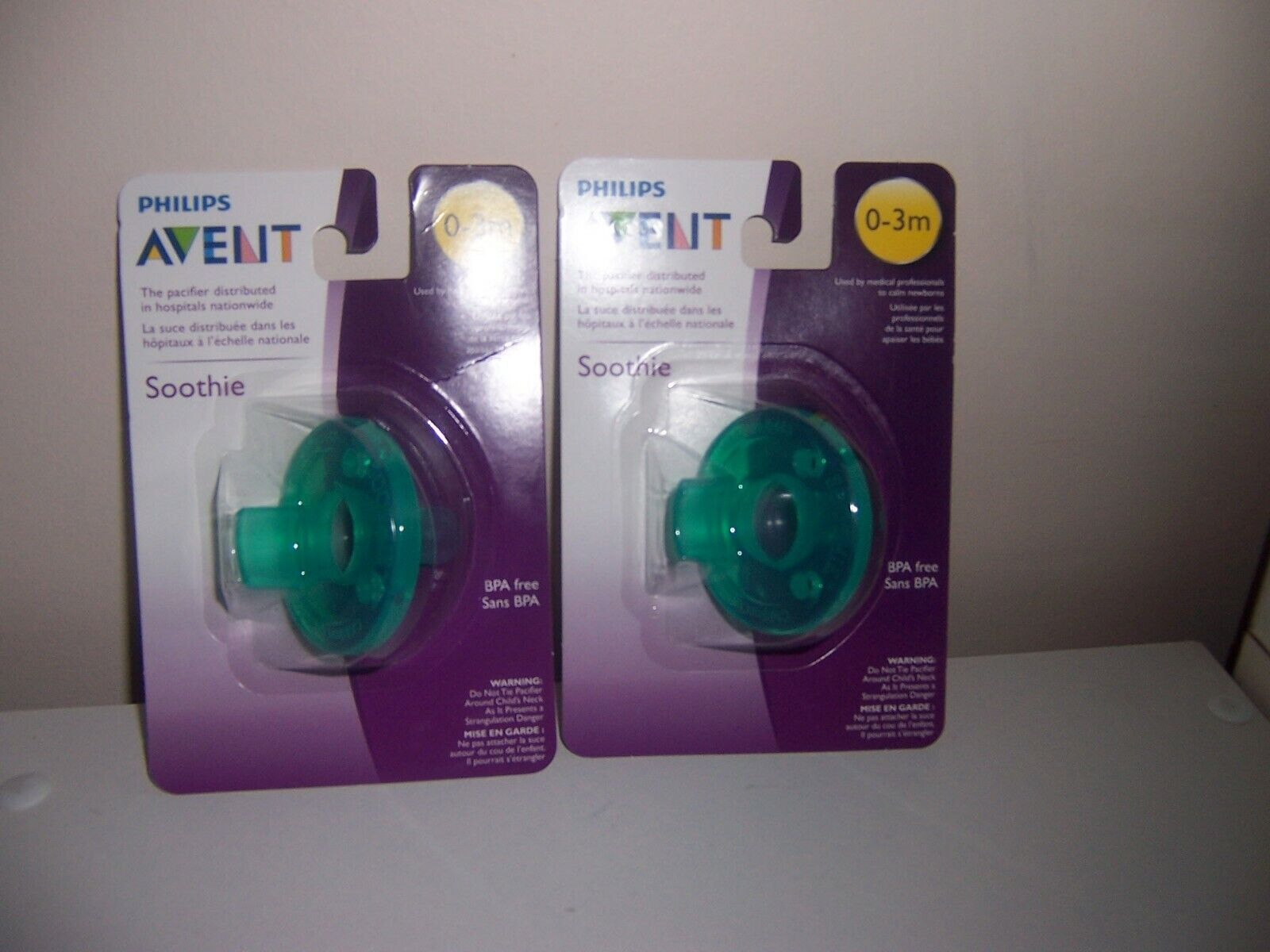 Avent soothie pacifier green 0-3 months  2 packages new