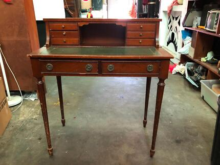 Reproduction Leather Topped Oak Writing Desk