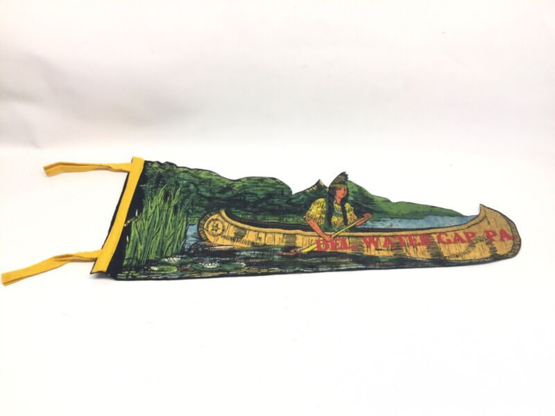 Vintage Elaborate Delaware Water Gap PA Indian Princess Canoe Pennant