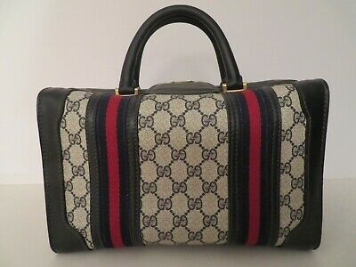 Gucci Train Case Luggage Travel Bag GG Logo Leather Vintage Doctor Satchel