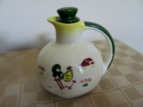 """Vintage Brock of California Farmhouse Pottery Small 5"""" Pitcher/Carafe with Lid"""