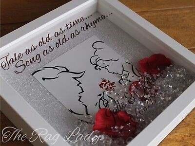 Beauty And The Beast Tale As Old As Time Falling Rose Light Box Personalised