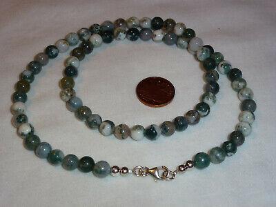5- Halskette Kette Moss Agate Moosachat 6mm Perlen 925er Silber 45 cm Neu ()