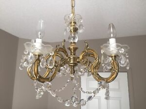 Unique Vintage Brass and Crystal Chandelier