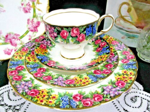 PARAGON tea cup and saucer trio Old English Garden pink rose teacup floral 1950s