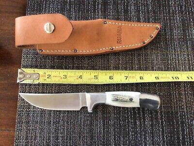 Ruana custom knife elk stag handles in makers sheath