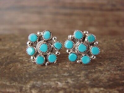 Native American Zuni Indian Sterling Silver Turquoise Cluster Post Earrings b...