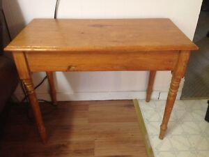 Old Antique Primitive 19th Century Pine Stand With Square Nails