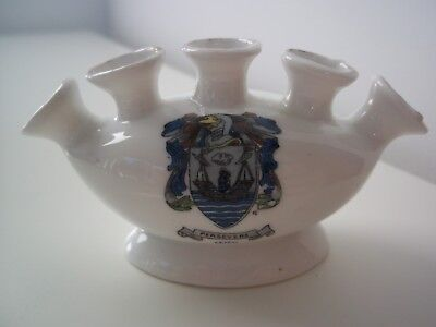 China Crested Ware 5 Fingered Vase (Leith Coat of Arms)