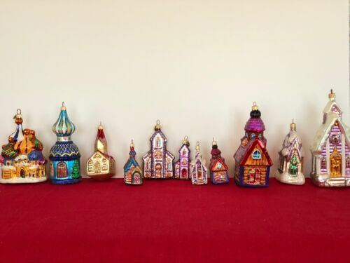 Retired Christopher Radko Chapel Group of 11 Hand Blown Ornaments