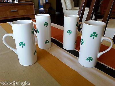 4 Old-fashioned LA GARDO TACKETT SCHMID SHAMROCK IRISH COFFEE ESPRESSO CUPS GREEN DEMI