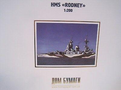 HMS Rodney Schlachtschiff Modellbaubogen Bastelbogen Kartonmodell 1:200