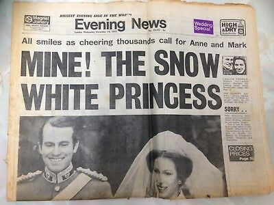 The Evening News, UK Newspaper. November 14th 1973. Royal Wedding. Anne and Mark.