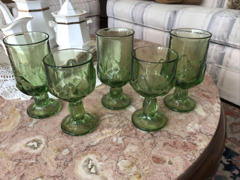 Tiffen Franciscan Cabaret Green Water / Wine / Tea Glasses Goblets Set of 5