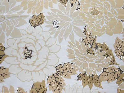3Y Cotton fabric by Robert Allen large FLORAL printed design beige golden white