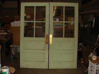 PAIR OF VINTAGE DOUBLE SCHOOL DOOR WITH 4- PANEL GLASS