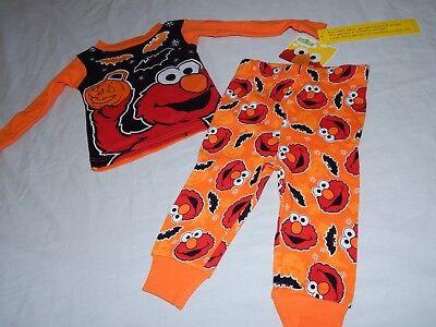 Sesame Street Outfits (NEW Elmo Figure Sesame Street Halloween Pumpkin Bats Pajamas Outfit 12 24 Months)