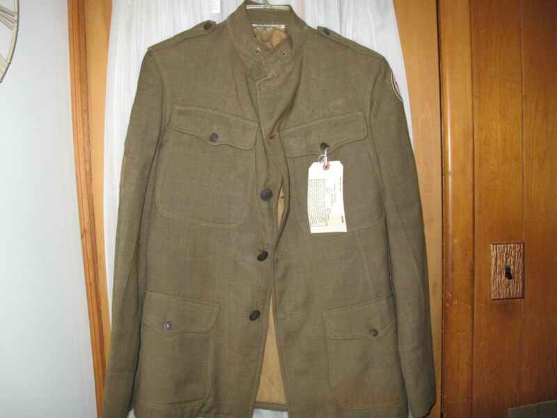 WW1 US Army Service Coat 1907 Pattern 93rd Infantry Bloody Hand Patch Stripes