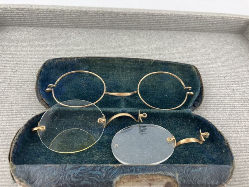 Antique Gold Wire Rim Round Eyeglasses Spectacles 1/10 12k Gold Cert.  As Is