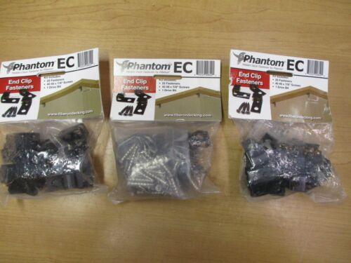 3 Packs of Fiberon Fhantom EC Hidden Deck  END CLIPS.75 Clips, 120 Screws,3 Bit