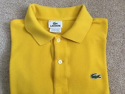 Mens Lacoste Polo Shirt Size 4 Yellow Short Sleeve Medium Collar