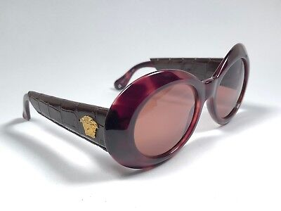 NEW VINTAGE GIANNI VERSACE 418 P DARK TORTOISE & LEATHER1990 'S ITALY SUNGLASSES