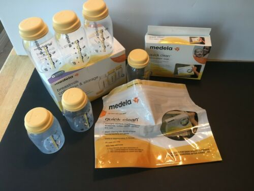 Medela Breastmilk Collection & Storage bottle set & Quick Clean micro-steam bags