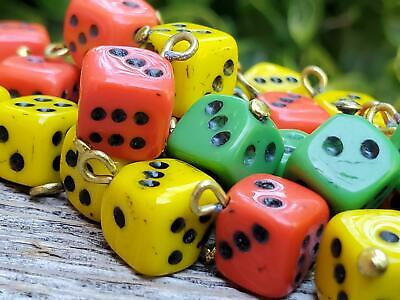 30 Mixed Colored Vintage Bohemian Glass Dice Beads with Bail for Jewelry Design Bohemian Glass Jewelry