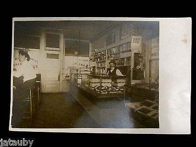 Vintage Rppc Postcard Store Display Counter Bar Men Pat Ross Stearns Real Photo