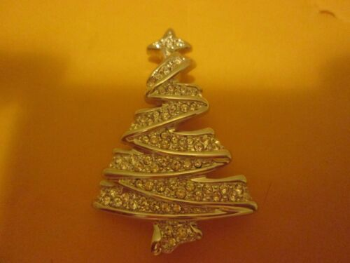 Swarovski Christmas Tree Pin Brooch With Swan Stamp On Back New SILVER