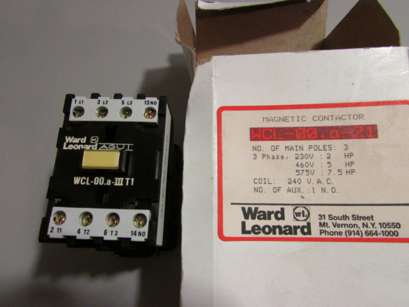 Ward Leonard WCL-00.a-21 Contactor With 240/220V - 50/60Hz Coil # 7449