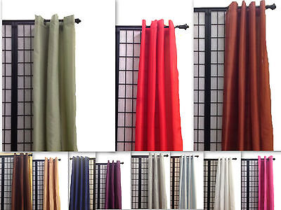 Each Silk Curtain (1 Panel Faux Silk Grommet Window Curtains Drapes Each 54
