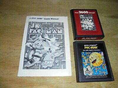 pacman and PAC-MAN JR with manual Atari 2600 Game Cartridge Tested Working