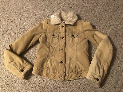 Women's Abercrombie & Fitch Tan Corduroy Sherpa Lined Coat Women's Small