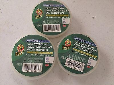 3 Rolls Duck Brand Vinyl Electrical Tape 34 X 66 Ft. White 4.25 Ea