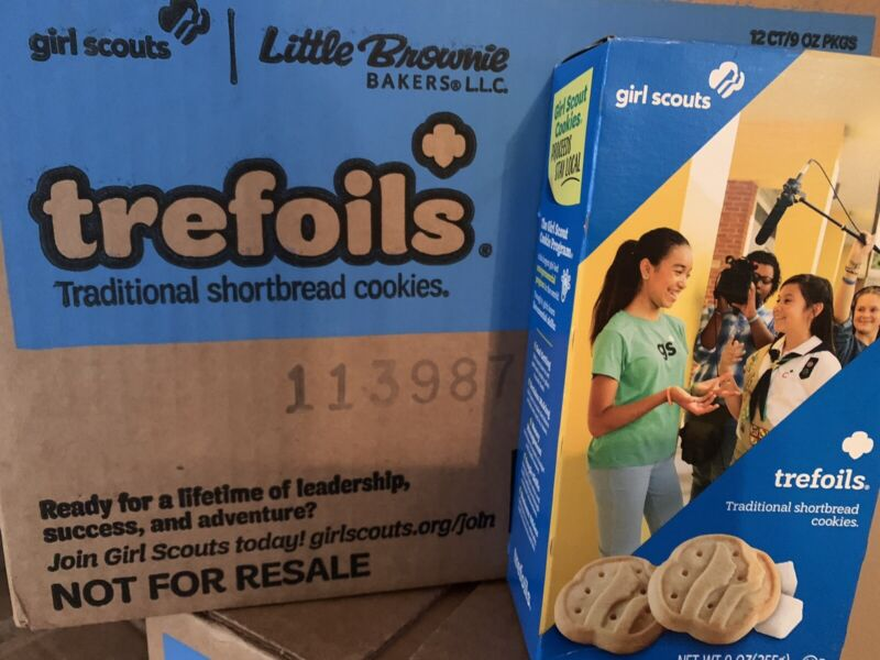 CASE of 2021 GIRL SCOUT TREFOILS COOKIES - 12 BOXES * Free Shipping *